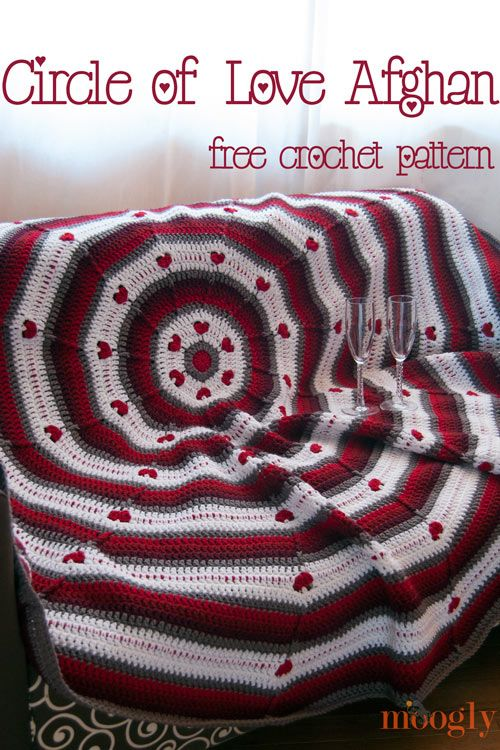 Free Pattern: Circle of Love Afghan | Pinterest | Kostenlose ...