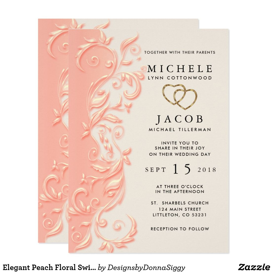 Elegant Peach Floral Swirl Wedding Invitation  Zazzle.com