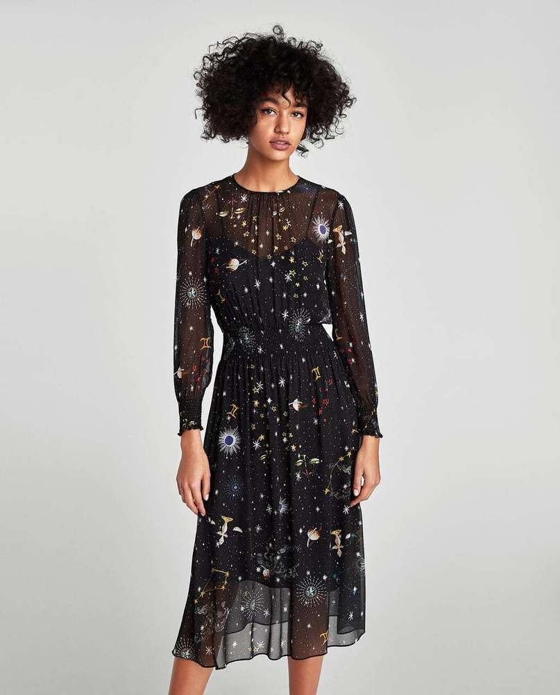 41100f9c372 ZARA BLACK GALAXY PRINTED SEMI SHEER MIDI DRESS AW17 SIZES S   L BNTNW