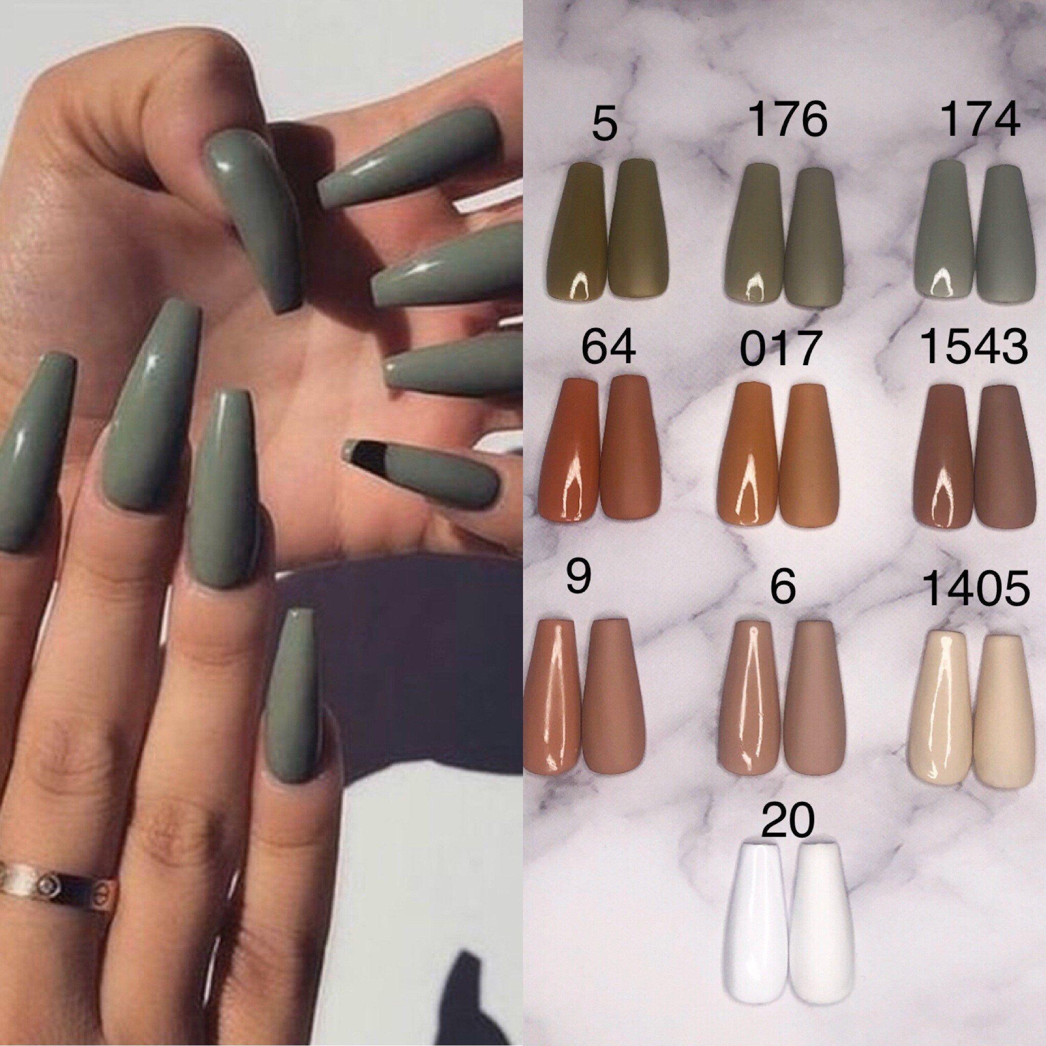 Press On Acrylic Nails 10 Set Matte Or Glossy Any Size Etsy Colored Acrylic Nails Acrylic Nails Coffin Short Fall Acrylic Nails
