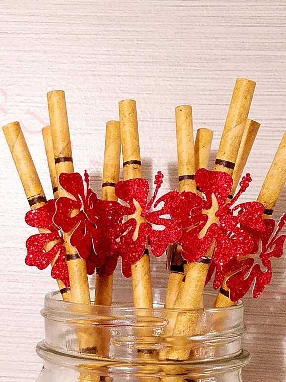 Tropical Bamboo Paper Party Straws. Ships In 2-3 Business ...