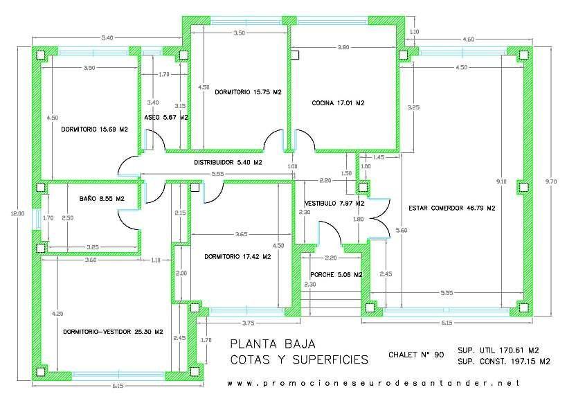 Modelo de chalet 90 planta baja planos casa pinterest for Diseno chalet una planta