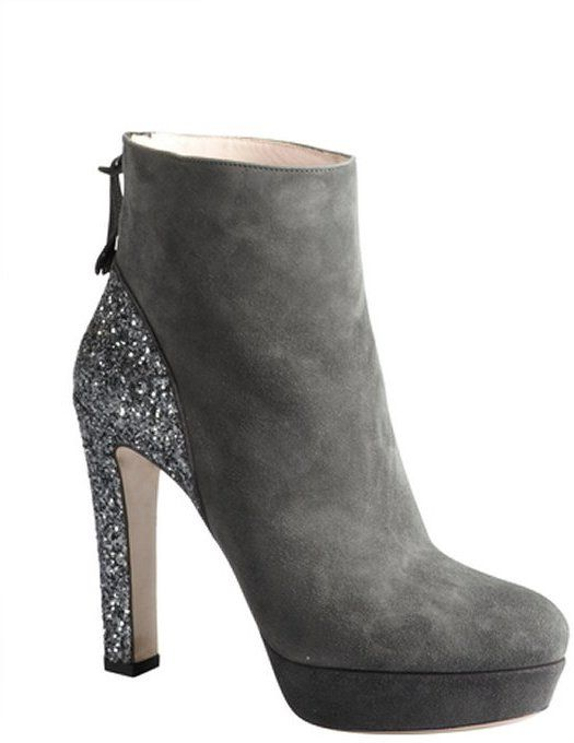 Anthracite Suede Glitter Heel Platform Ankle Boots