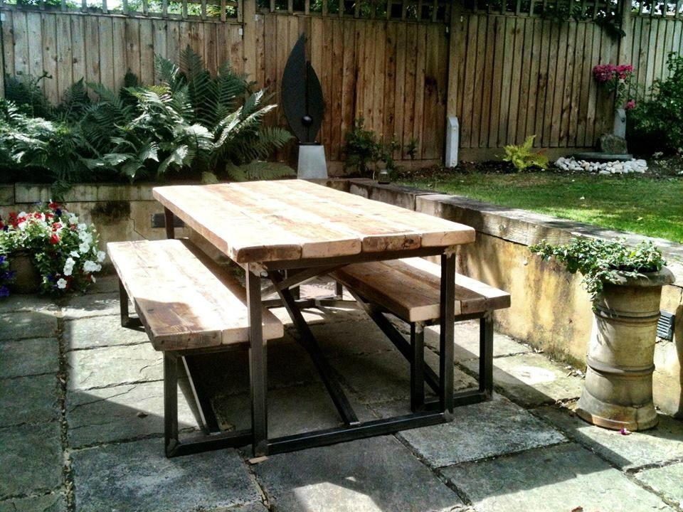 Industrial Style Reclaimed Outdoor Dining Table and Benches -  www.reclaimedbespoke.co.uk