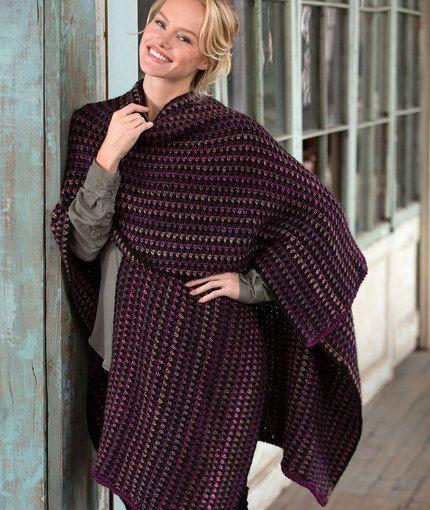 Around-Town Ruana Free Crochet Pattern LW5140 | crochet | Pinterest ...