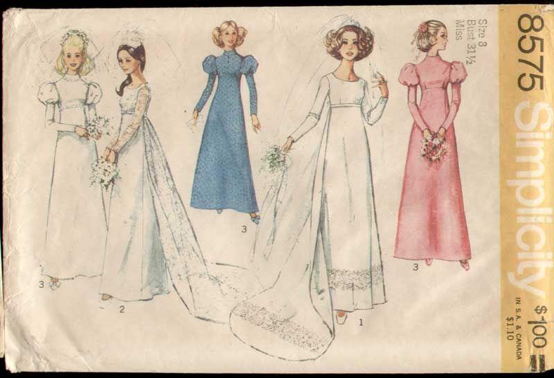 Simplicity 8575 Vintage 1970s BOHO Wedding Dress with Train Pattern ...