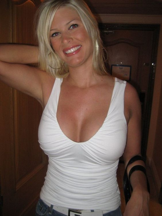 Blond Milf Cleavage In White Tank Top  Milfs  Tops, Sexy, Women-4118