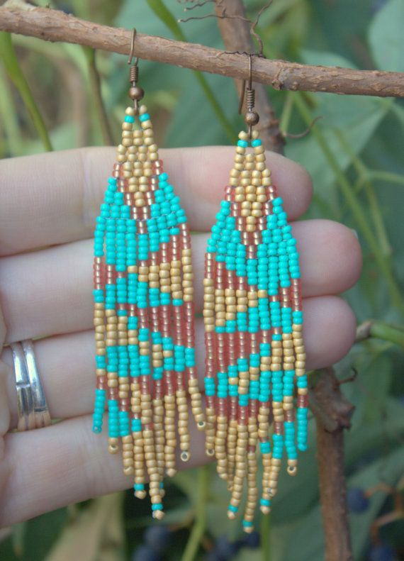 Native American Inspired EarringsSeed Bead Woven by NativeStyles