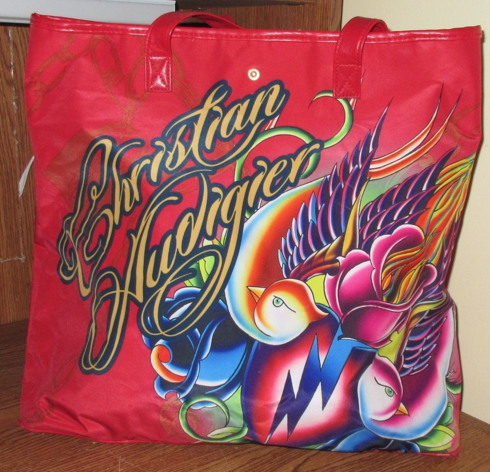Ed Hardy Christian Audigier Big Large Red Tote Bag Womens Birds Carry Used Nice in Clothing, Shoes & Accessories, Women's Handbags & Bags, Handbags & Purses | eBay