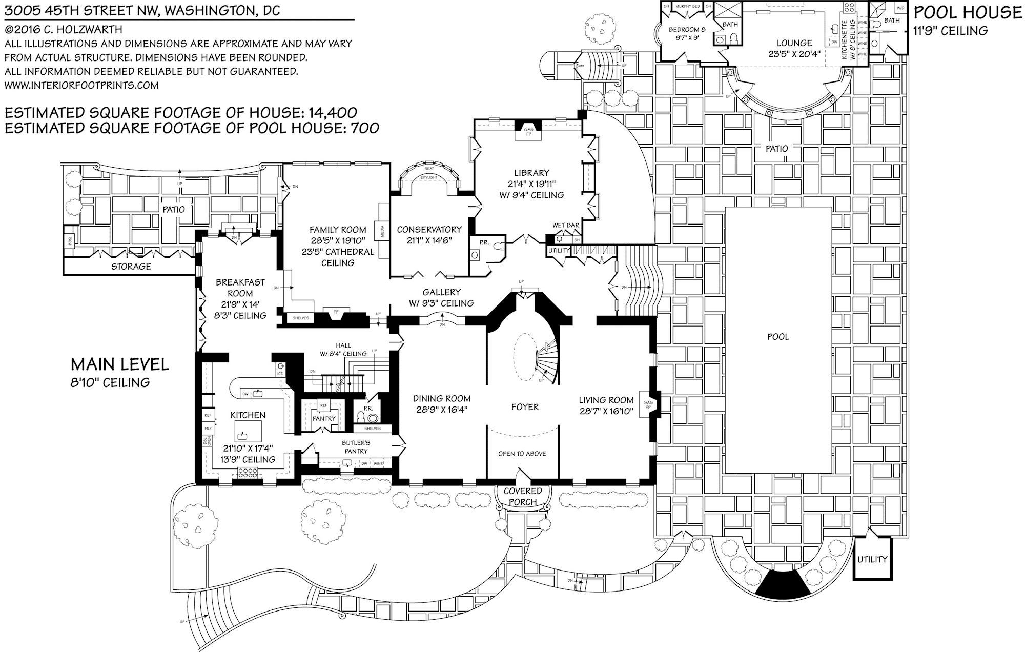 15 000 Square Foot Washington Dc Home Main Level Floor Plan 3005 45th St Nw Floor Plans House Floor Plans House Heating