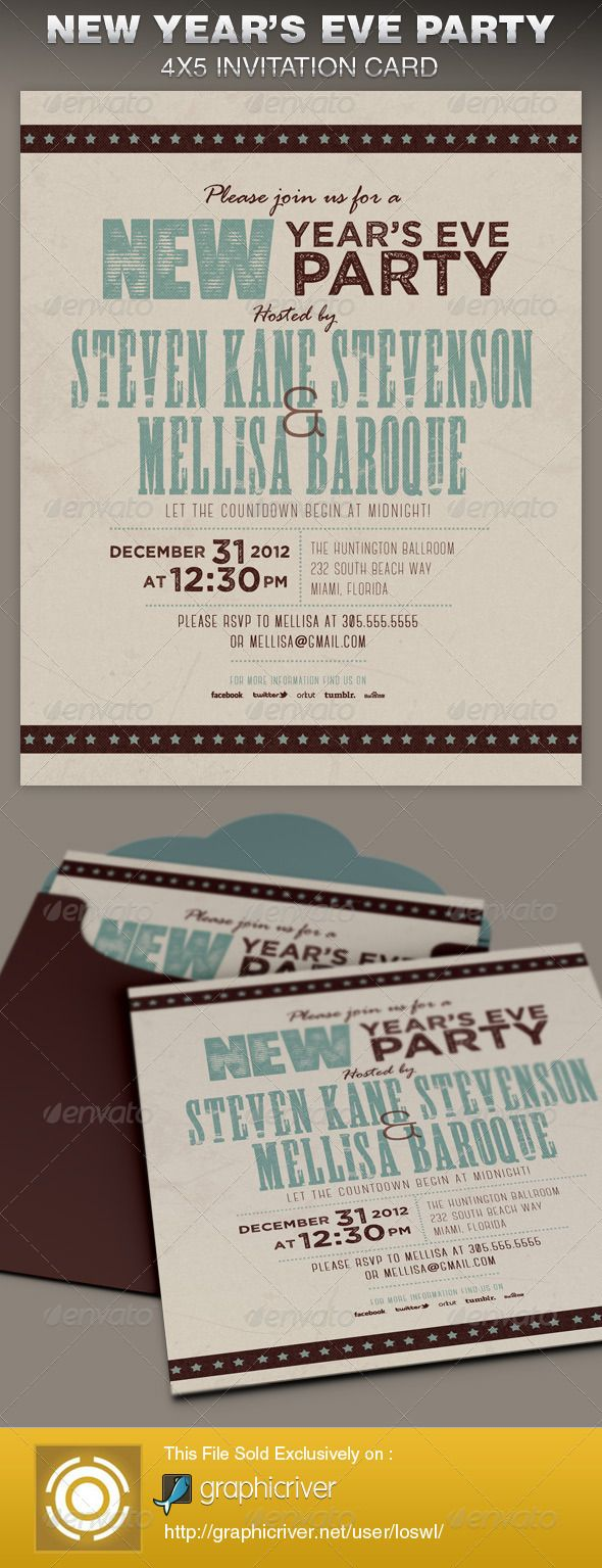 this retro new year party invite card template is great