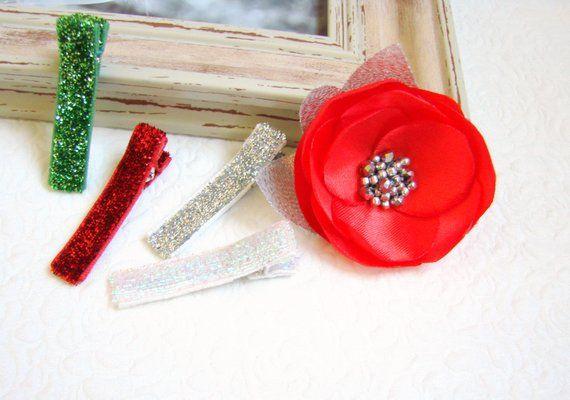 e611f667ddf79 Baby Christmas hair clips Baby red flower hair clip Holiday Toddler  Non-slip clips Flower Glitter ha