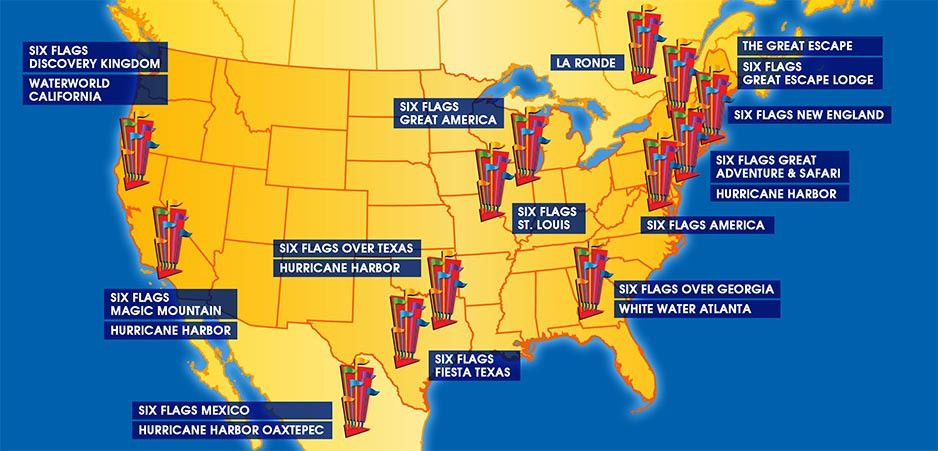 Six Flags Locations Map Us Map Of Six Flags | Vector Map | six flags | Flag vector, Map