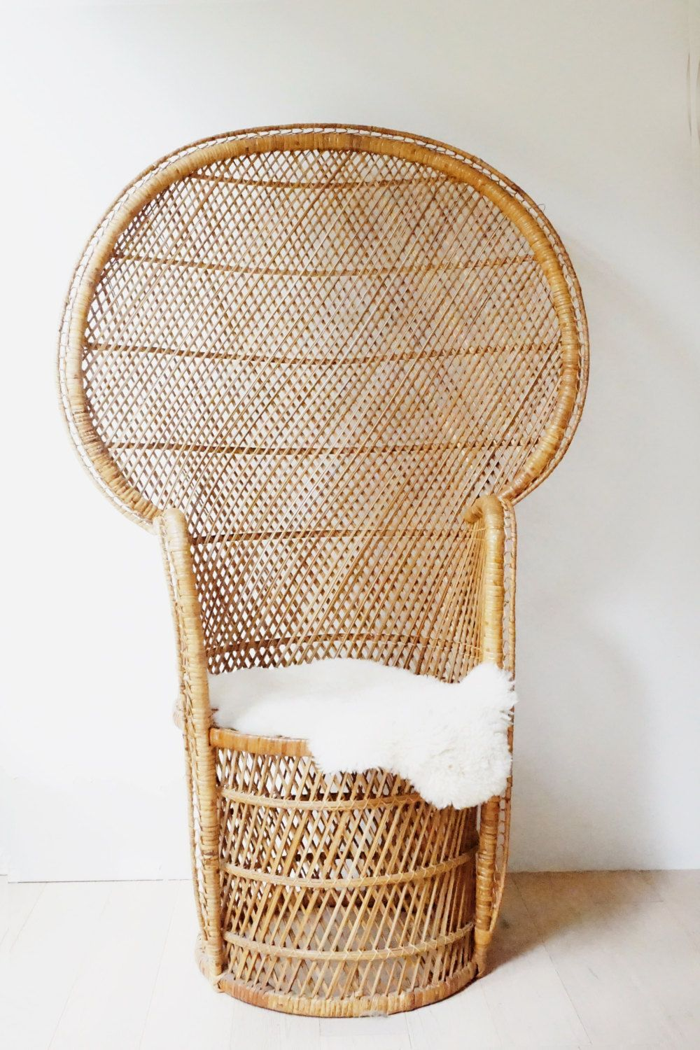 Vintage Peacock Chair Rattan Full Size Woven Handmade 70s Wicker