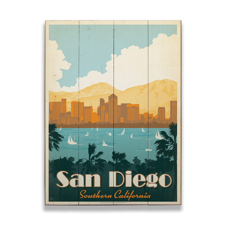 San Diego Old Wood Signs San Diego Travel California Art Travel Posters