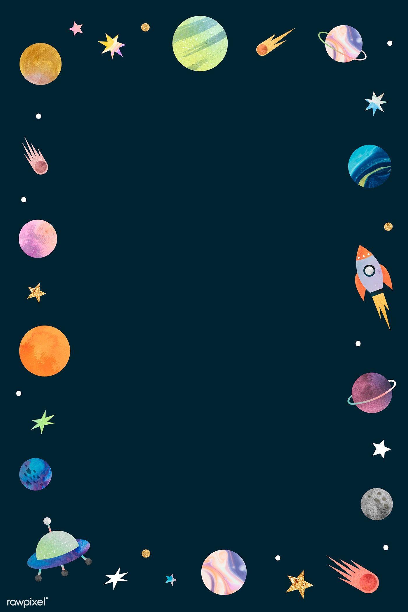 Download Premium Vector Of Colorful Galaxy Watercolor Doodle Frame On Watercolor Galaxy Doodle Frame Art Wallpaper Iphone