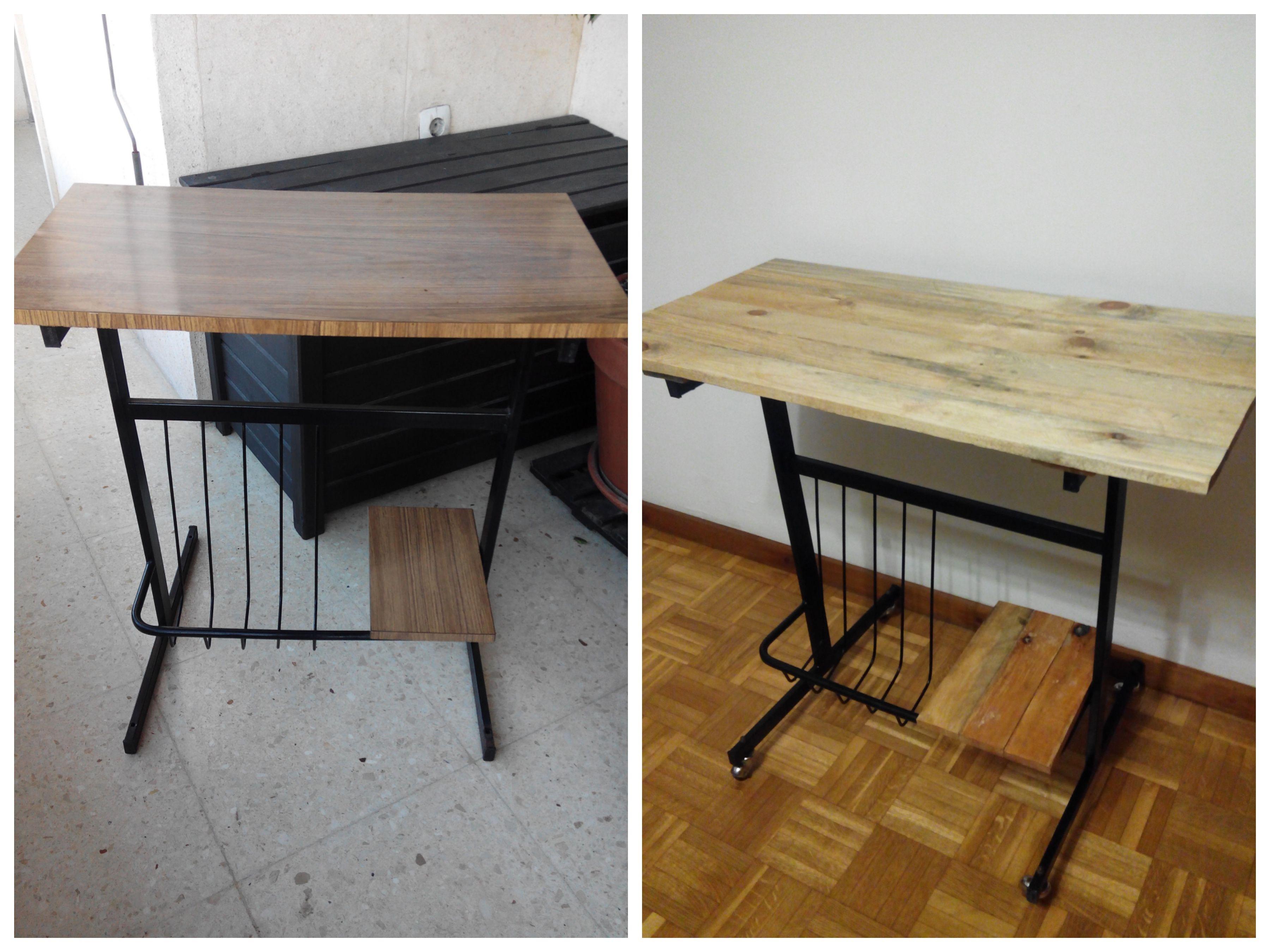 Mesa para tv años 60. Restaurada con pintura-laca negra y tableros ...