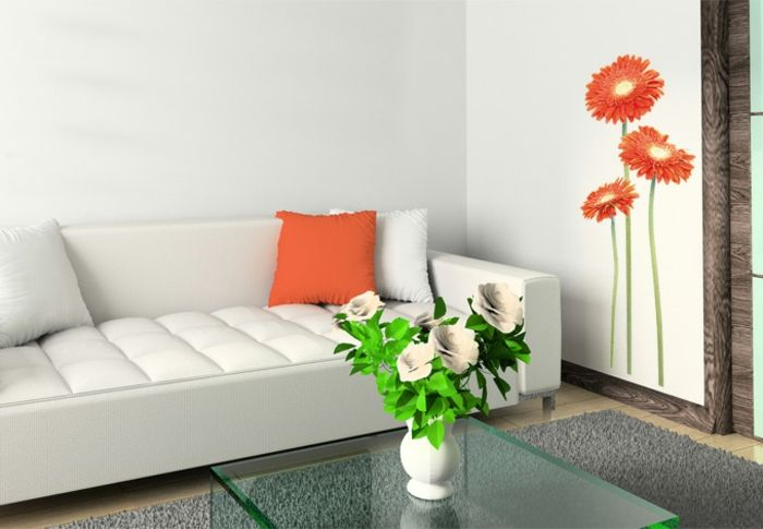 wandtattoos wohnzimmer orange gerbera wei es sofa wanddekoration interior wallpapers. Black Bedroom Furniture Sets. Home Design Ideas