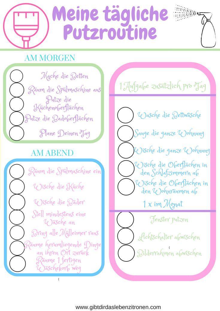 Meine tägliche Putzroutine oder wie ich vom Schlonz zum Ordnungsfanatiker wurde. Mein Putzplan als pdf #planning