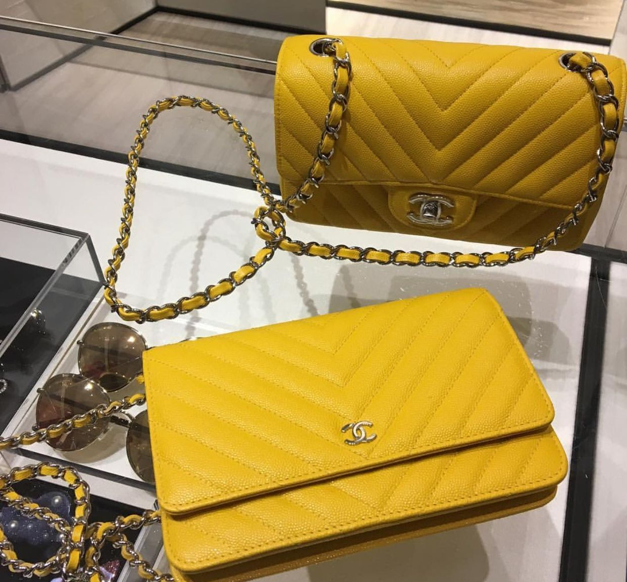 Yellow Quilted Coco Chanel Bag With