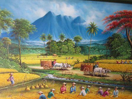 Lukisan Pemandangan Desa Penelusuran Google Pemandangan Lukisan Rumah Lukisan