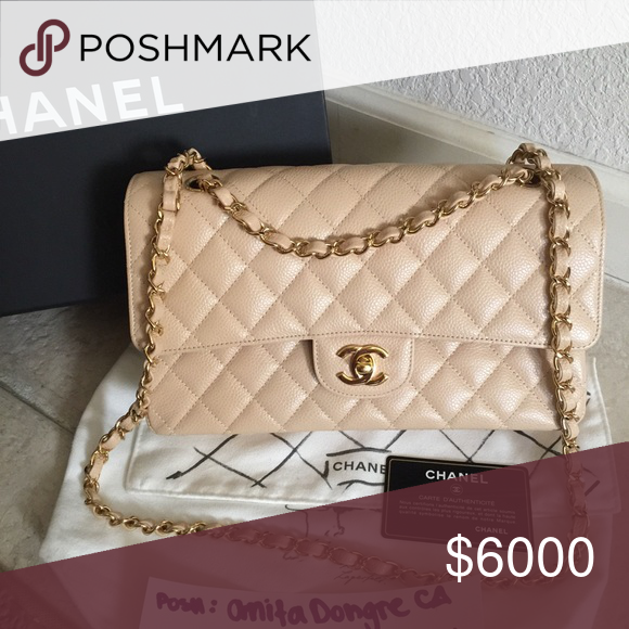 0fbaee2aaffd Chanel beige medium classic flap Brand new authentic medium Chanel classic  flap beige Claire caviar with GHW. Box, dustbag, authenticity card included.