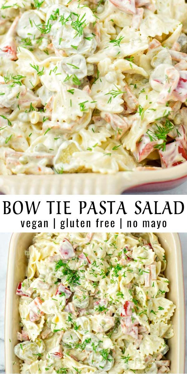 Bow Tie Pasta Salad Easy done in 15 minutes this Bow Tie Pasta salad is a keeper mayo free that the whole family will love. Naturally vegan, delicious and amazing for meal prep.