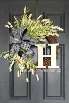 Photo of White Wreath for Spring ,Front Door Wreath, Everyday Wreath with Monogram, Year Round Wreath with Initial, Tulip Wreath, Custom Wreath Gift