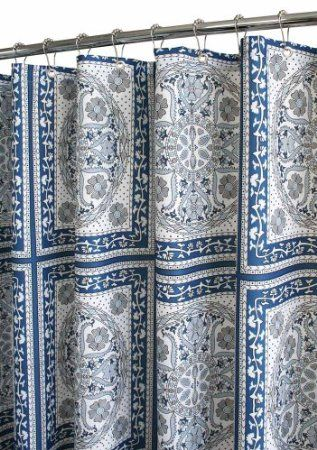 Amazon Park B Smith Medallion Tiles Watershed Shower Curtain Ocean Blue White Home Kitchen