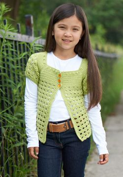 This pretty crocheted cardigan is a great transitional layer. Little girls can wear it as a stylish topper during the summer months and over a long-sleeved tee during the fall! Shown in Patons Classic Wool DK Superwash.