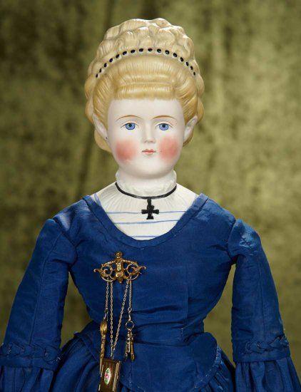 21 German Bisque Lady Doll W Elaborate Coiffure Bodice W