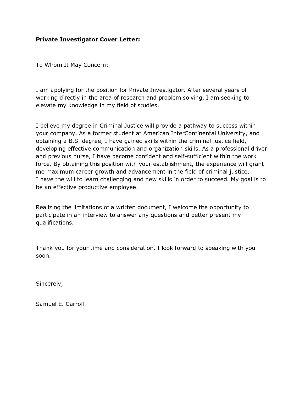 Cover Letter For Internship Position Criminal Justice
