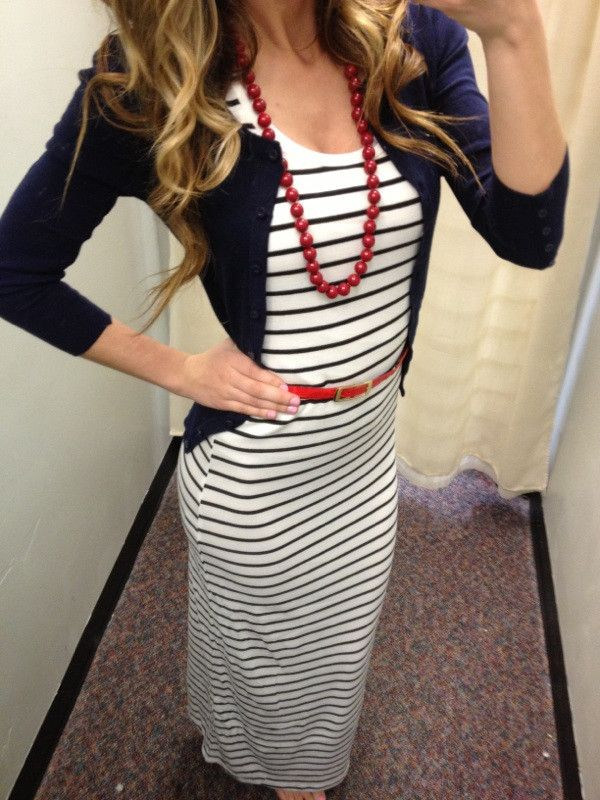 White And Black Striped Maxi Dress I Love This Sexymodest