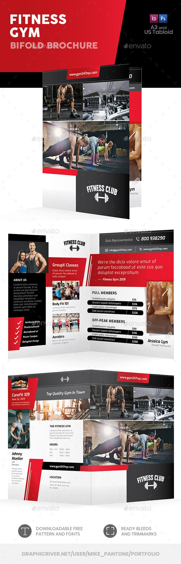 Fitness Gym Bifold / Halffold Brochure 8. Fully editable professional template for an information br...
