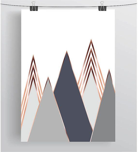 Gray Mountain Art Scandinavian Print Copper Wall Art Rose Gold Print Rose Gold Decor Geometric Poster Gray Home Decor Gray Art Digital Print is part of Dorm decor Gray - INSTANT DOWNLOAD  available immediately after purchase  Please note that this is a digital download only, no physical product will be shipped and the frame not included                                                         Printable art, all yours right after purchase  Make sure to save the files on your computer and then you can print it as many times as you would like  And you don't have to worry about getting it damaged or lost  you can always print it again ) If you are going to print it at home you, I would advise using a heavier paper, 160  230g should work well  If you have any special requests please do not hesitate to contact me                                                         What will you get  Your download will include 5 files 1  jpeg  can be printed and sized to any dimensions up to 22x28inches 2  A3 PDF file 3  A4 PDF file 4  8  x 10  PDF file 5  5  x 7  PDF file Other sizes also available ) Please note that the printed color may vary slightly to what you see on the screen  All files are 300dpi, which are high quality files perfect for printing ) If you would like any other size, please do contact me I can resize the files for you and send them either as a jpeg or PDF, in any size you would like