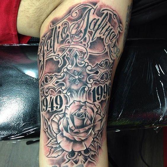 Single Rose Flower Tattoo Legs: One More Nice Latino Letters Rose Flower Tattoo On Men Leg