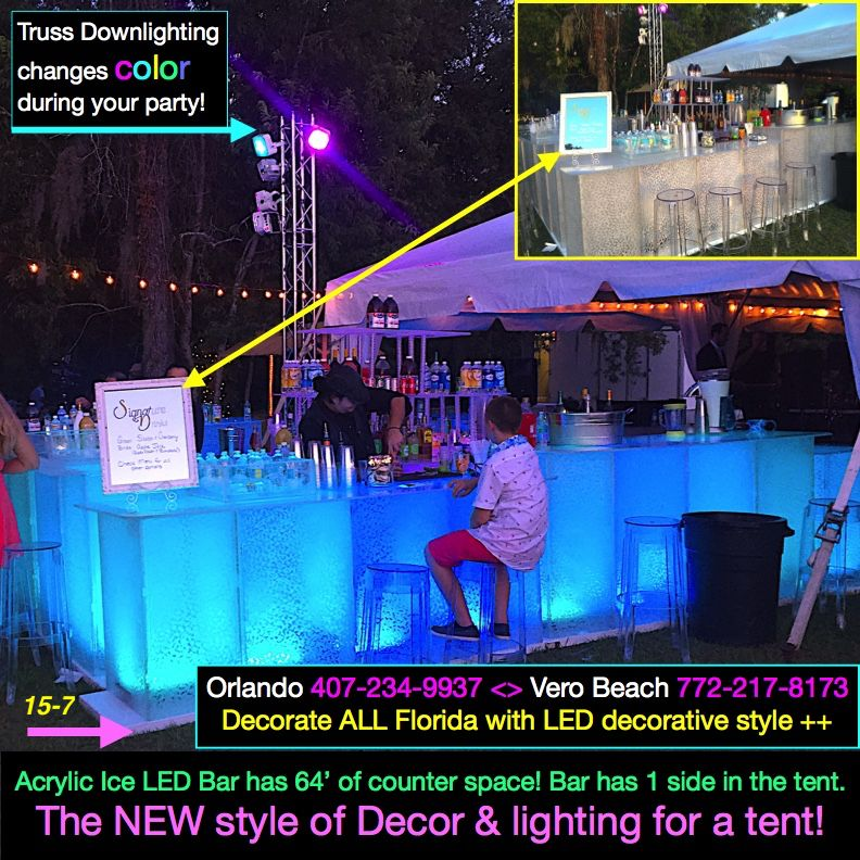 We Decorate All Florida Outdoor Parties The New Way Truss Downlighting Changes Color By Remote Outdoor Party Lighting Party Rentals Downlights