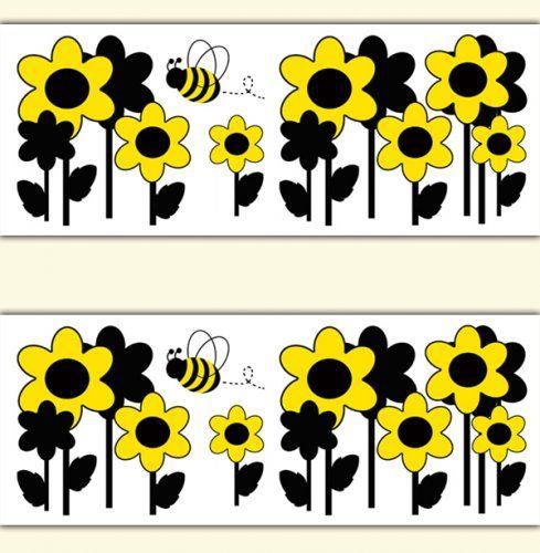 Honey Bumble Bee Floral Wallpaper Border Girl Wall Art
