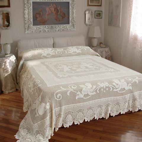 Lenzuola Matrimoniali Con Angeli.Copriletto Angeli Filet Crochet Pillow Crochet Bedspread E