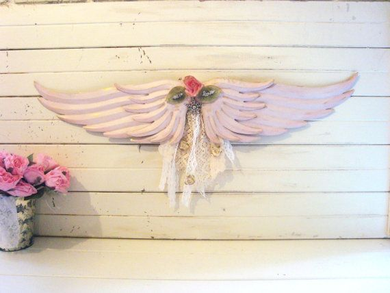 Shabby Chic Pink Angel Wings Wall Decor, Pink Wings Nursery Decor ...