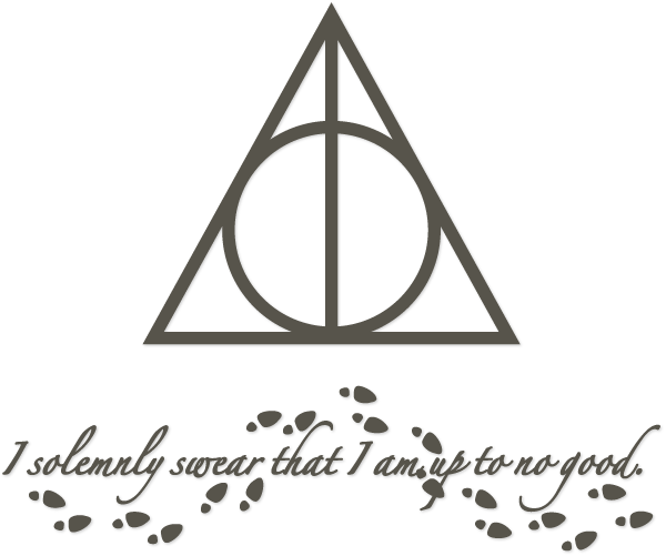 "Harry Potter Deathly Hallows and sentiment ""I solemnly swear that I am up to no good"" - free cutting files!"