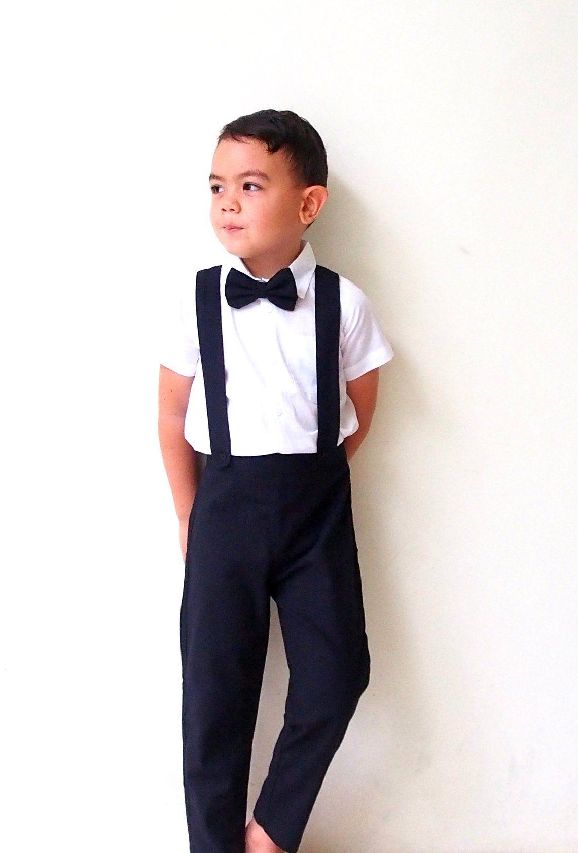 bea43ca3e Boy Christening Outfit - Black,Suspender pants, Boy Linen Suit, Page Boy,  Ring bearer, Baptism, Linen pants, newsboy,Boy wedding sui