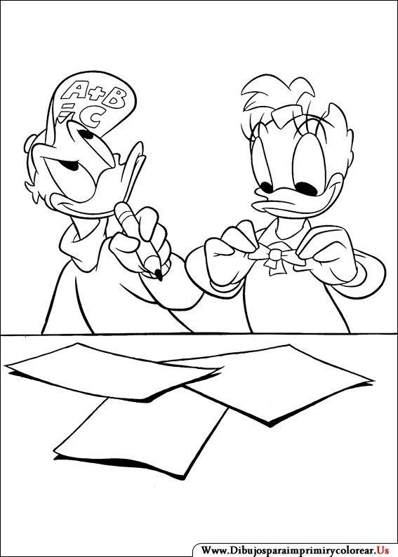 Donald & Daisy Duck. Disney Coloring Page. Dibujos de Daisy para ...