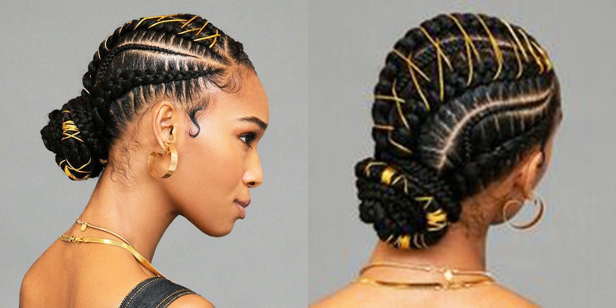 Um, This Braided Bun With Gold Stitching Is Definitely the Next Style You Need to Try #braidedbuns