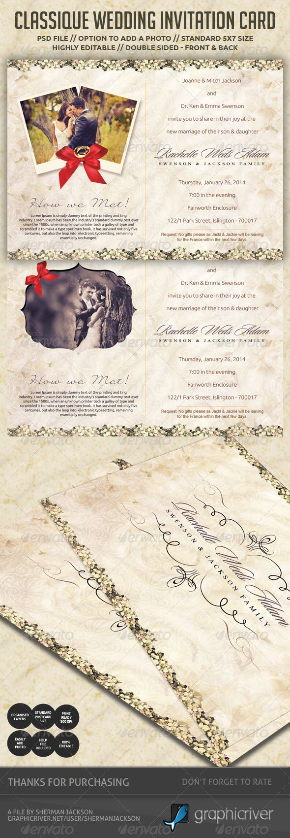 templates for wedding card design%0A Classique Wedding Invitation   Postcard  Print TemplatesDesign