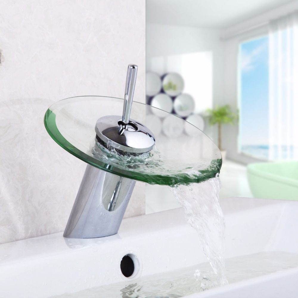 RU Bathroom Faucet Glass Waterfall Faucet Mixer Taps Bathroom Basin ...