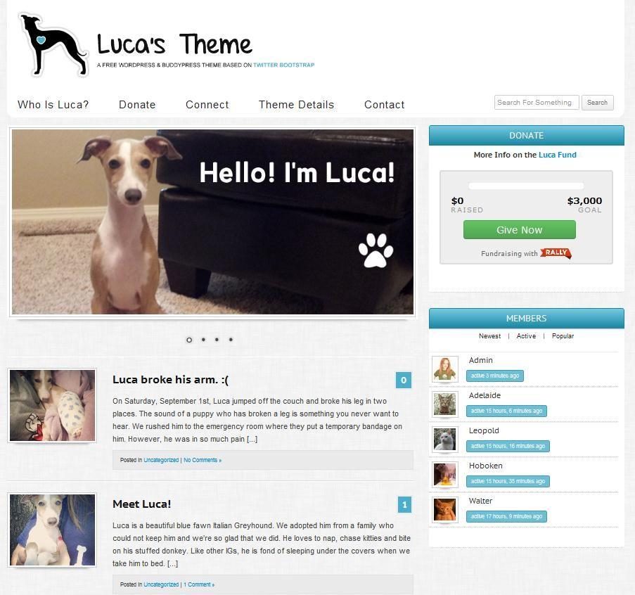 Luca\'s Theme: A Free WordPress and BuddyPress Theme Based on Twitter ...