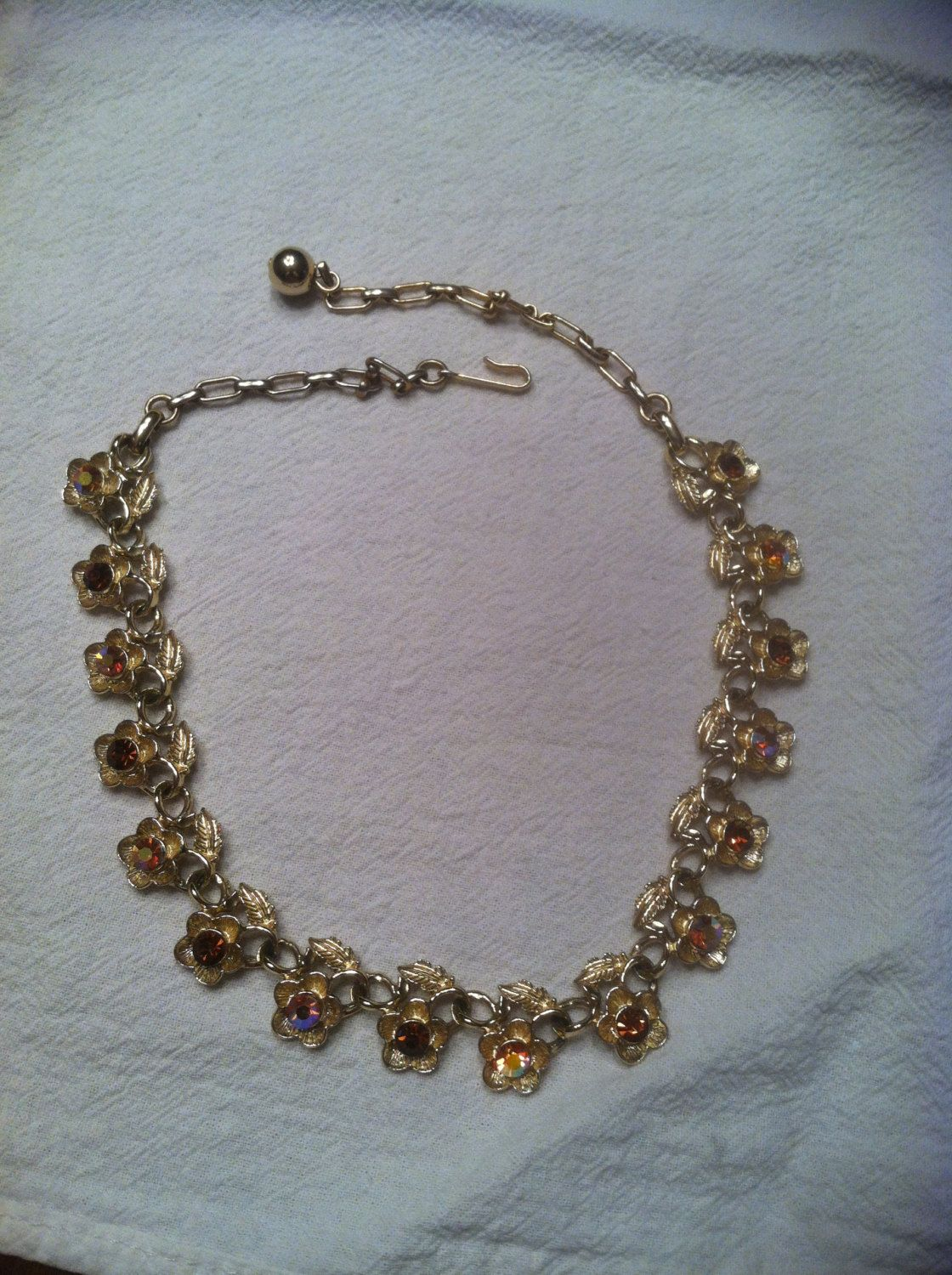 Vintage Gold Tone and Amber Rhinestone Floral Choker Beautiful by SimplyFunForMe on Etsy