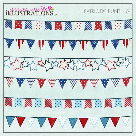 patriotic bunting cute digital clipart for card design and web design 4th