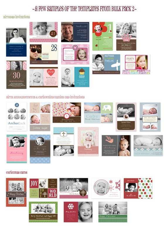 150 Photo Card Templates Bulk Pack 2 Includes Birth – Bulk Birthday Invitations